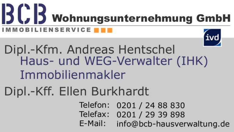Dipl.-Kfm. Andreas Hentschel Haus- und WEG-Verwalter (IHK), Dipl.-Kff. Ellen Burkhardt
